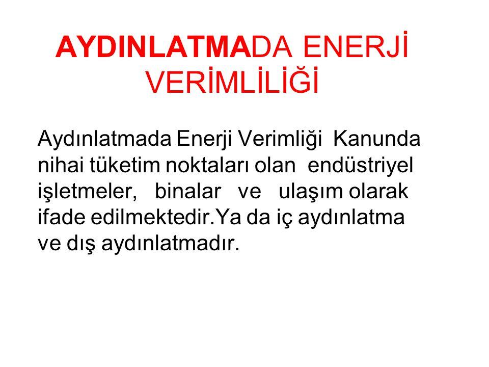 AYDINLATMADA ENERJİ TASARRUFU ve YÖNTEMLERİ Türkiye'de üretilentoplam elektriğin%25'i aydınlatmadakullanılmaktadır.Yaygın olarak kullanılmakta olan akkor flamanlı lambalar elektrik enerjisinin %95'ını ısıya çevirmekte, sadece düşük bir kısmını ışığa dönüştürerek aydınlatma sağla maktadır.