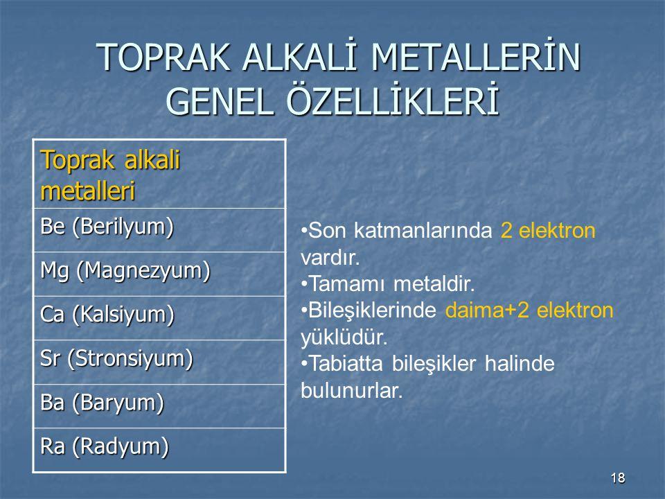18 TOPRAK ALKALİ METALLERİN GENEL ÖZELLİKLERİ TOPRAK ALKALİ METALLERİN GENEL ÖZELLİKLERİ Toprak alkali metalleri Be (Berilyum) Mg (Magnezyum) Ca (Kals