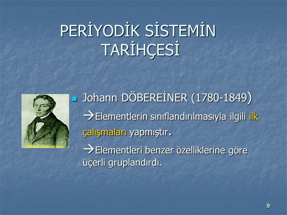9 PERİYODİK SİSTEMİN TARİHÇESİ Johann DÖBEREİNER (1780-1849 ) Johann DÖBEREİNER (1780-1849 )  Elementlerin sınıflandırılmasıyla ilgili ilk çalışmalar