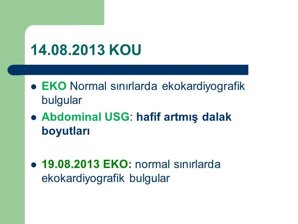 14.08.2013 KOU EKO Normal sınırlarda ekokardiyografik bulgular Abdominal USG: hafif artmış dalak boyutları 19.08.2013 EKO: normal sınırlarda ekokardiyografik bulgular