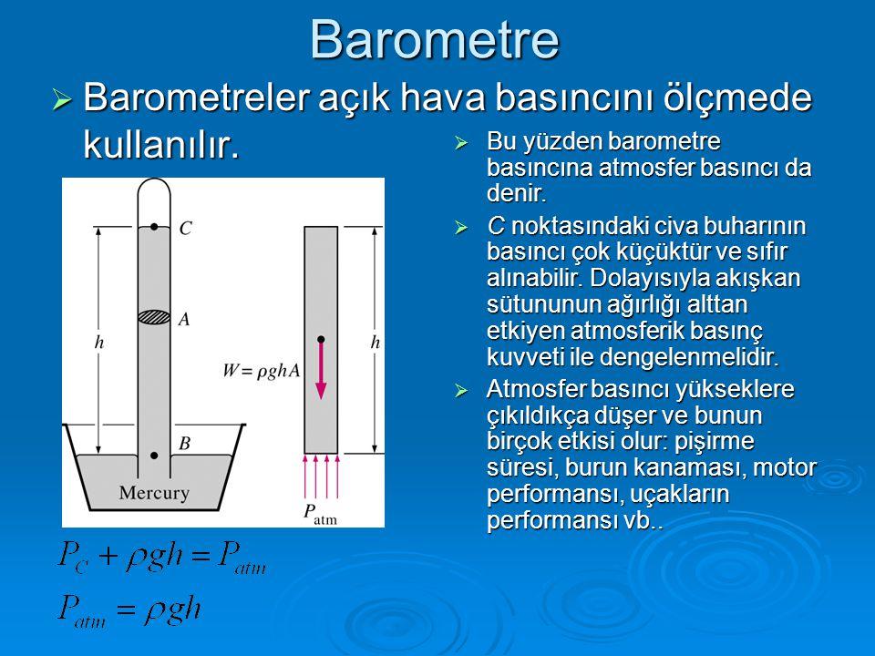 Barometre  Barometreler açık hava basıncını ölçmede kullanılır.  Bu yüzden barometre basıncına atmosfer basıncı da denir.  C noktasındaki civa buha