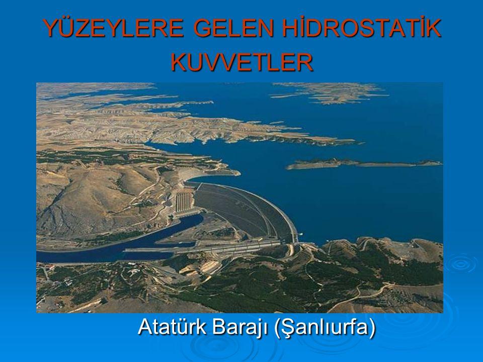 YÜZEYLERE GELEN HİDROSTATİK KUVVETLER Atatürk Barajı (Şanlıurfa)