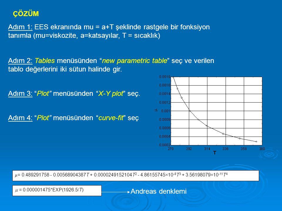 """ÇÖZÜM Adım 1: EES ekranında mu = a+T şeklinde rastgele bir fonksiyon tanımla (mu=viskozite, a=katsayılar, T = sıcaklık) Adım 2: Tables menüsünden """"new"""