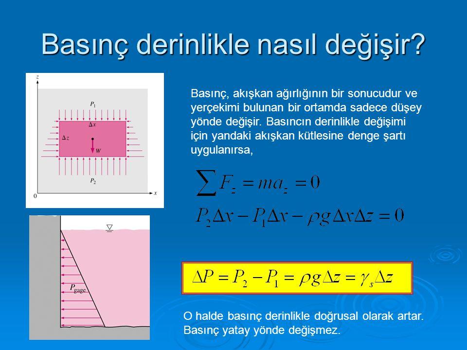 Basınç derinlikle nasıl değişir? Basınç, akışkan ağırlığının bir sonucudur ve yerçekimi bulunan bir ortamda sadece düşey yönde değişir. Basıncın derin
