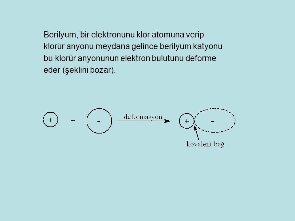 Berilyum, bir elektronunu klor atomuna verip klorür anyonu meydana gelince berilyum katyonu bu klorür anyonunun elektron bulutunu deforme eder (şeklin