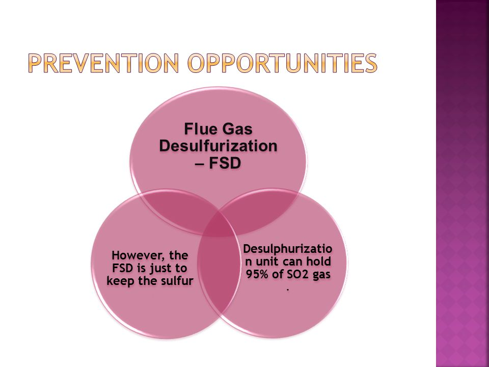 Flue Gas Desulfurization – FSD Desulphurizatio n unit can hold 95% of SO2 gas.