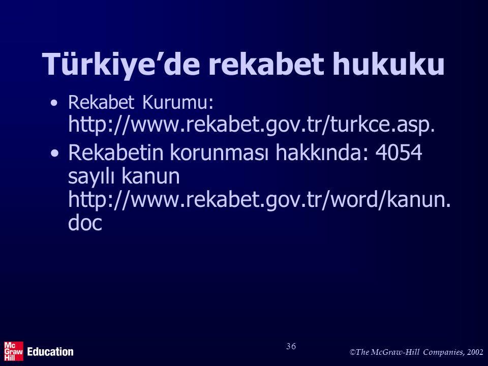 © The McGraw-Hill Companies, 2002 36 Türkiye'de rekabet hukuku Rekabet Kurumu: http://www.rekabet.gov.tr/turkce.asp. Rekabetin korunması hakkında: 405