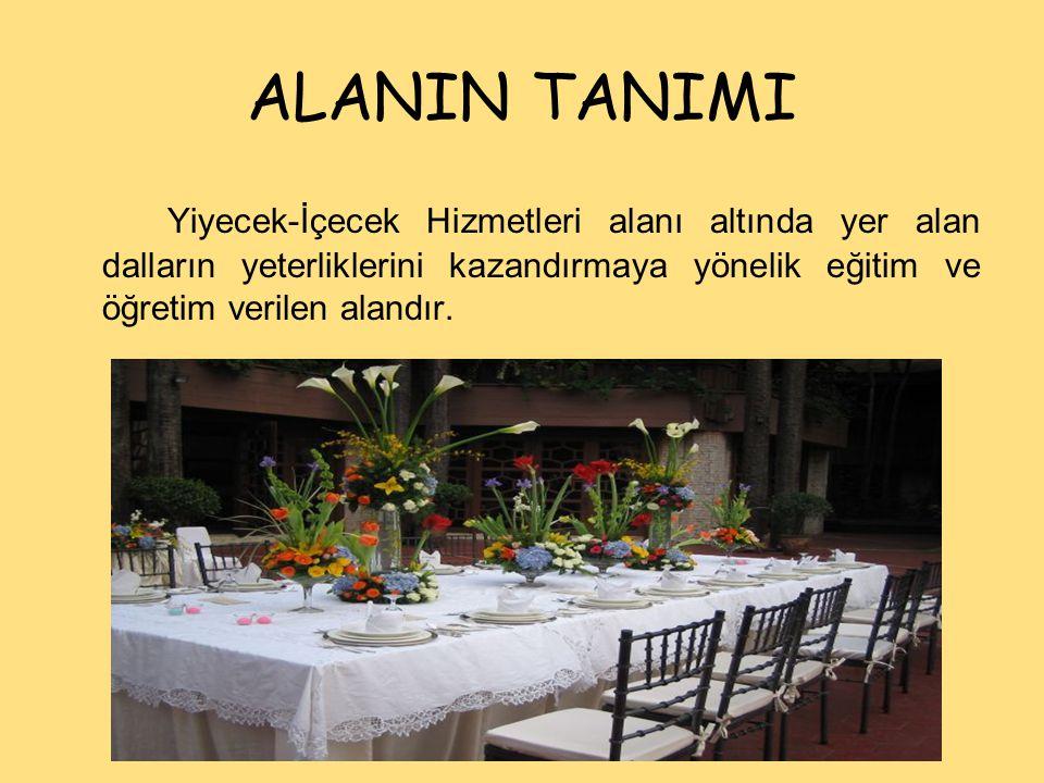 ALANIN TANIMI Yiyecek-İçecek Hizmetleri alanı altında yer alan dalların yeterliklerini kazandırmaya yönelik eğitim ve öğretim verilen alandır.