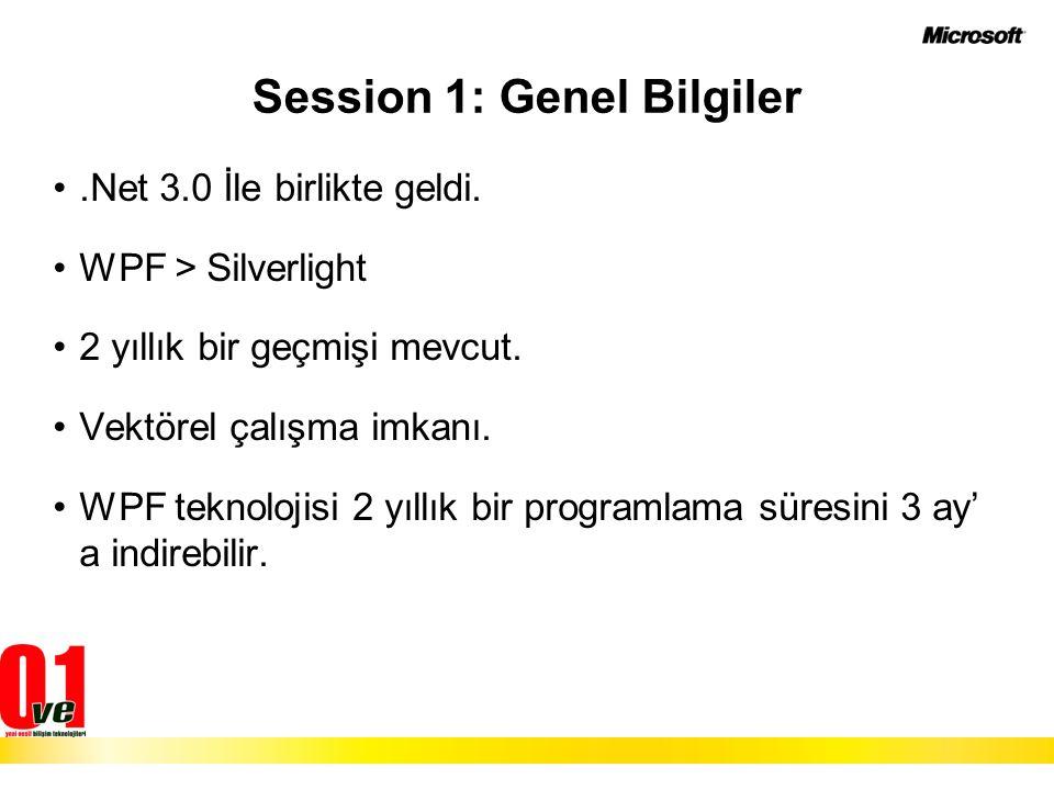 Session 1: Genel Bilgiler.Net 3.0 İle birlikte geldi. WPF > Silverlight 2 yıllık bir geçmişi mevcut. Vektörel çalışma imkanı. WPF teknolojisi 2 yıllık