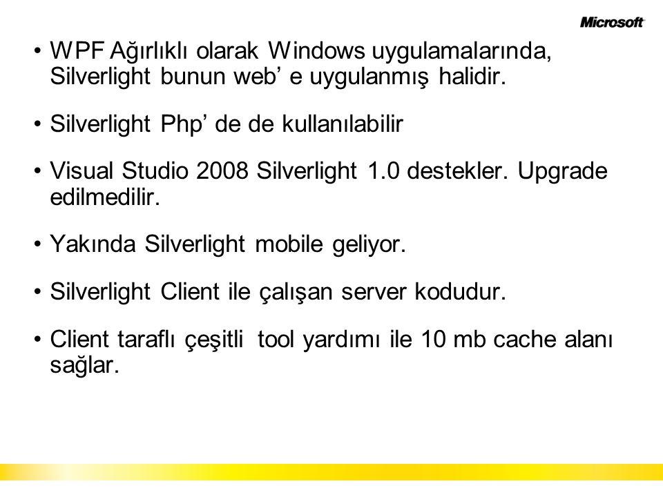 WPF Ağırlıklı olarak Windows uygulamalarında, Silverlight bunun web' e uygulanmış halidir. Silverlight Php' de de kullanılabilir Visual Studio 2008 Si