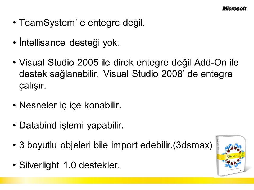 TeamSystem' e entegre değil. İntellisance desteği yok. Visual Studio 2005 ile direk entegre değil Add-On ile destek sağlanabilir. Visual Studio 2008'