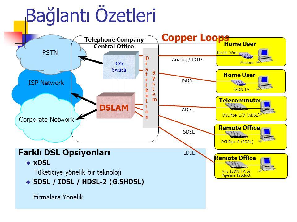ADSL (Asymmetric DSL) HDSL (High Data Rate DSL) IDSL (ISDN DSL) SHDSL (Symmetric DSL) G.SHDSL (Symmetric high-bit-rate DSL) RADSL (Rate Adaptive DSL) VDSL (Very high-bit-rate DSL) X-DSL Çeşitleri