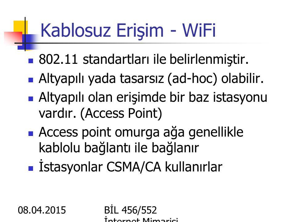 802.15 WPAN (Wireless Personal Area Network) Bluetooth, UWB, Zigbee Yakın mesafelerde ve düsük hızlarda cihazlararası bağlantı yapmak amacıyla kullanı