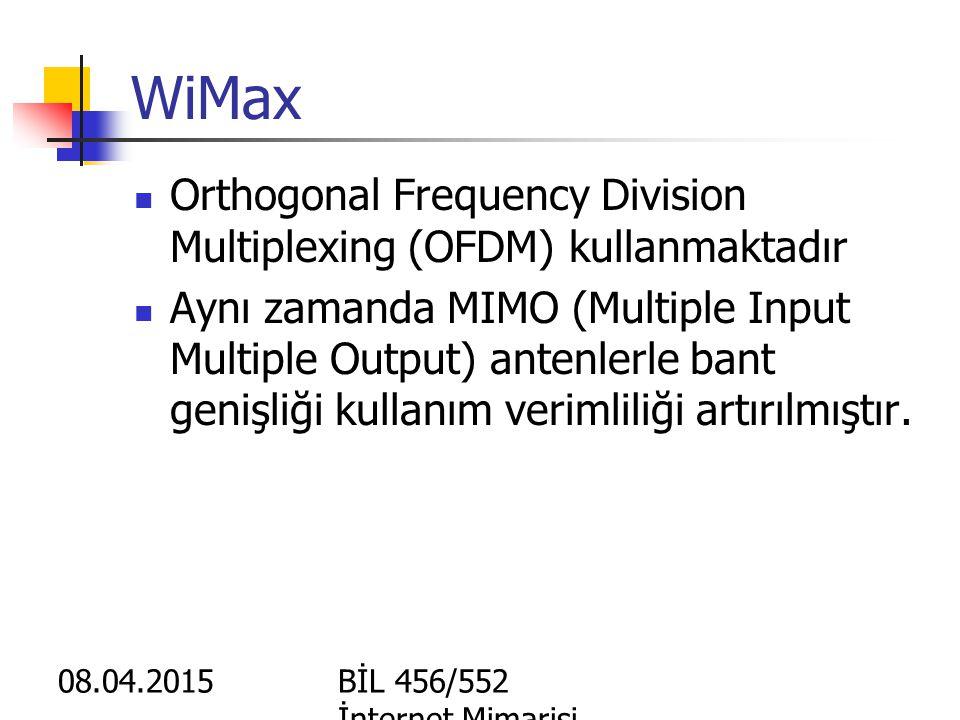 08.04.2015BİL 456/552 İnternet Mimarisi WiMax WiMAX: Wireless Interoperability for Microvawe Access WiMAX: 802.16 standardlarına uygun cihaz üreten üreticilerin bir araya gelerk kurdukları ve yapılan cihazların birbiri ile uyumlu çalışmasını onaylayacak kuruluş (forum) WiMAX uyumlu cihazların temel amacı: Noktadan noktaya kablosuz bağlantılar ile yüksek miktarda veriyi taşımak Son kullanıcıya kablosuz intrenet götürmek (son km erişimi) Geniş alanları kaplayıp son kullanıcıları Wi-Fi gibi küçük hot spotlarla kablosuz internet Teorik olarak 50km'ye kadar 75 Mbps Pratik olarak 5-10 km'de birer baz istasyonu gerektirir