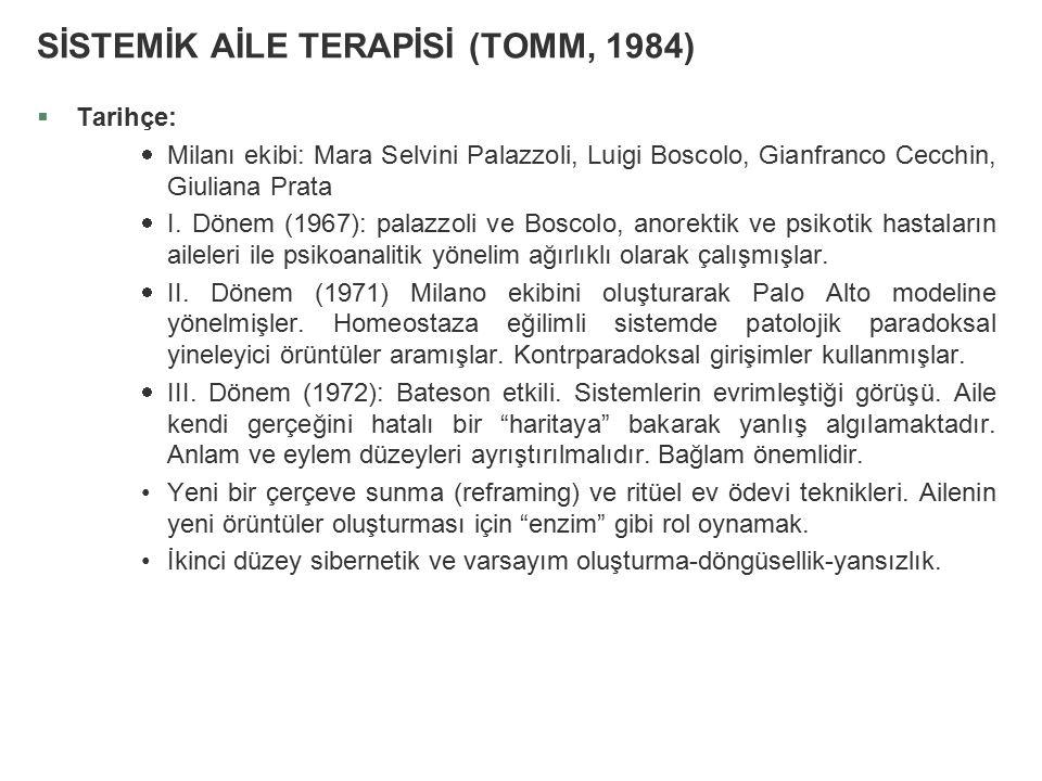 SİSTEMİK AİLE TERAPİSİ (TOMM, 1984) §Tarihçe:  Milanı ekibi: Mara Selvini Palazzoli, Luigi Boscolo, Gianfranco Cecchin, Giuliana Prata  I. Dönem (19