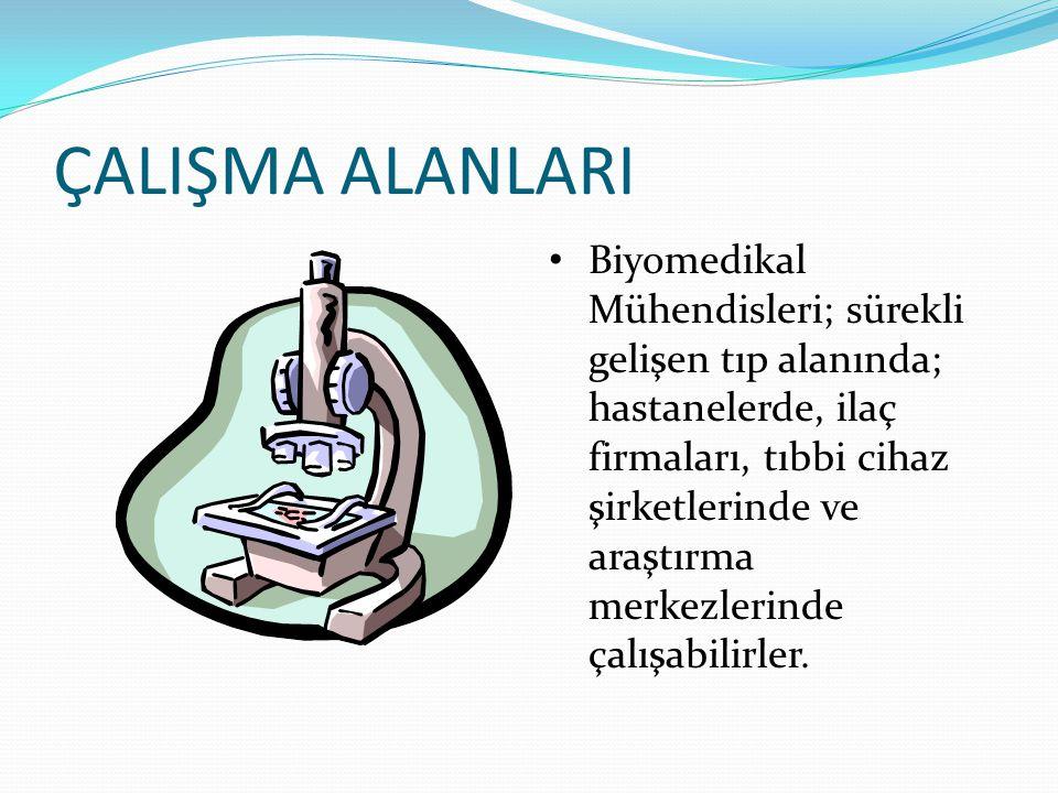 ÇALIŞMA ALANLARI Biyomedikal Mühendisleri; sürekli gelişen tıp alanında; hastanelerde, ilaç firmaları, tıbbi cihaz şirketlerinde ve araştırma merkezle