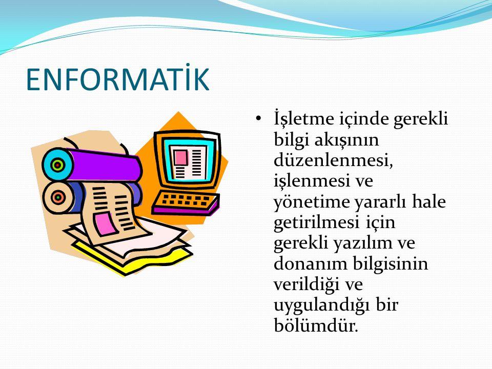 ENFORMATİK İşletme içinde gerekli bilgi akışının düzenlenmesi, işlenmesi ve yönetime yararlı hale getirilmesi için gerekli yazılım ve donanım bilgisin