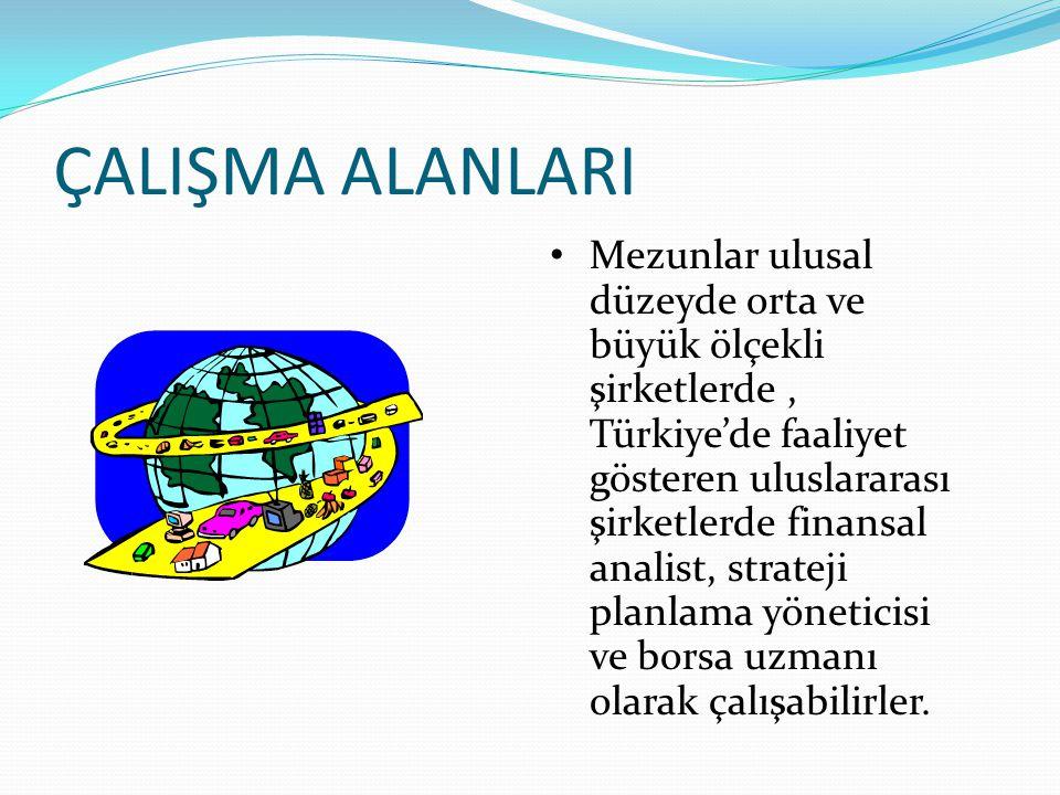ÇALIŞMA ALANLARI Mezunlar ulusal düzeyde orta ve büyük ölçekli şirketlerde, Türkiye'de faaliyet gösteren uluslararası şirketlerde finansal analist, st