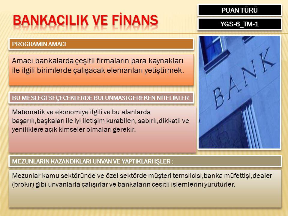 PUAN TÜRÜ YGS-6_TM-1 PROGRAMIN AMACI: Amacı,bankalarda çeşitli firmaların para kaynakları ile ilgili birimlerde çalışacak elemanları yetiştirmek. BU M