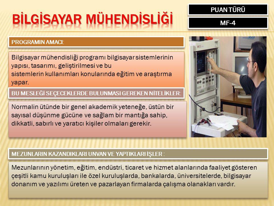 PUAN TÜRÜ MF-4 PROGRAMIN AMACI: Bilgisayar mühendisliği programı bilgisayar sistemlerinin yapısı, tasarımı, geliştirilmesi ve bu sistemlerin kullanıml