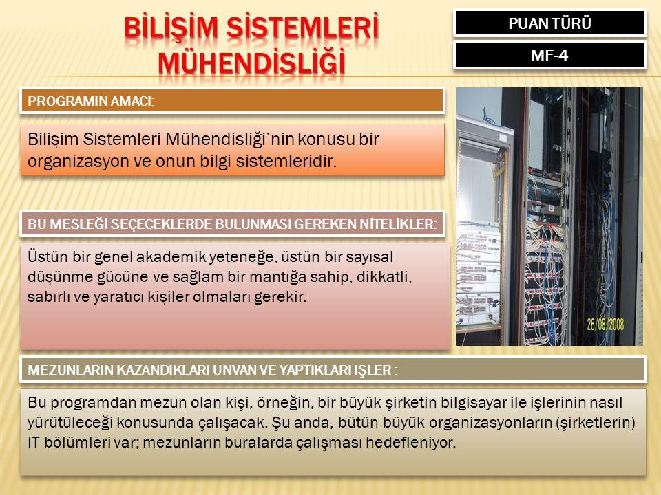 PUAN TÜRÜ MF-4 PROGRAMIN AMACI: Bilişim Sistemleri Mühendisliği'nin konusu bir organizasyon ve onun bilgi sistemleridir. BU MESLEĞİ SEÇECEKLERDE BULUN