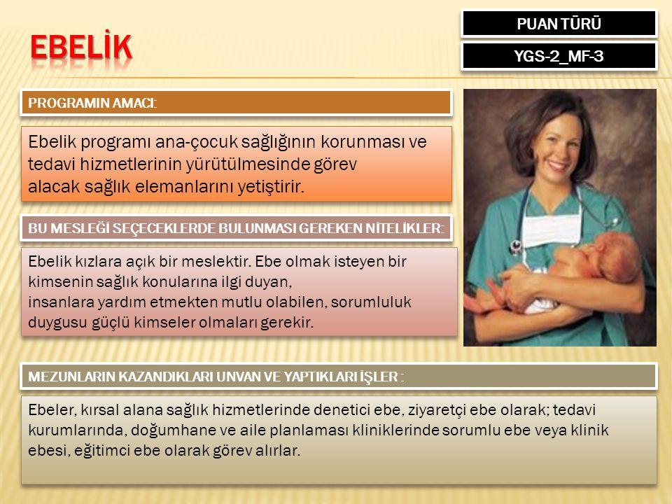 PUAN TÜRÜ YGS-2_MF-3 PROGRAMIN AMACI: Ebelik programı ana-çocuk sağlığının korunması ve tedavi hizmetlerinin yürütülmesinde görev alacak sağlık eleman