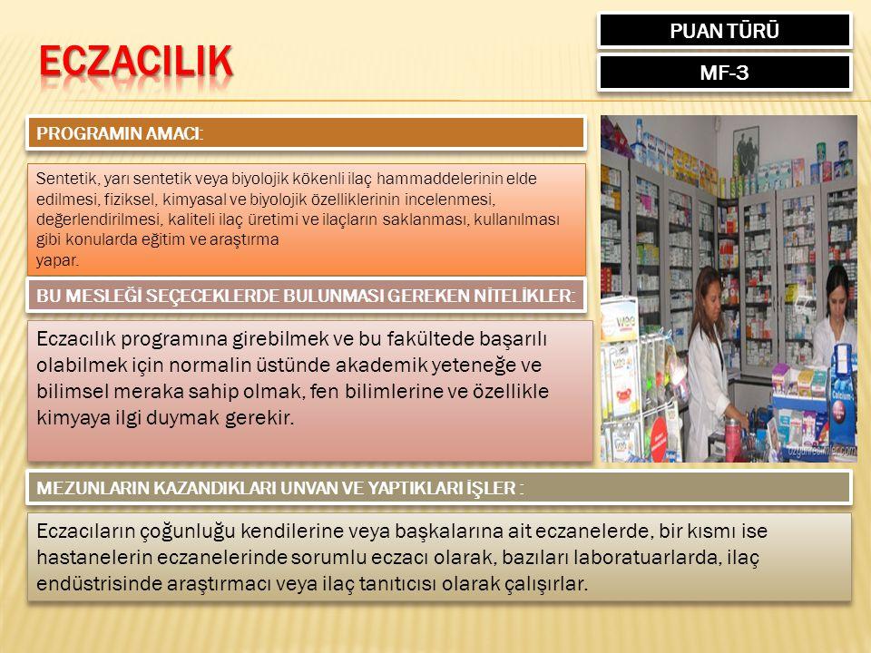 PUAN TÜRÜ MF-3 PROGRAMIN AMACI: Sentetik, yarı sentetik veya biyolojik kökenli ilaç hammaddelerinin elde edilmesi, fiziksel, kimyasal ve biyolojik öze