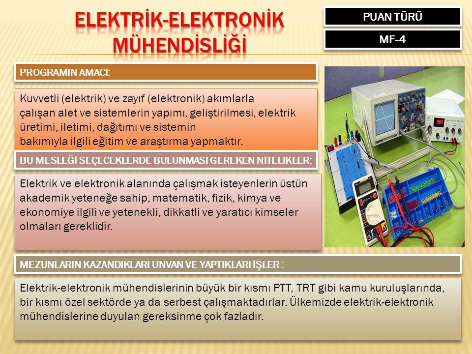 PUAN TÜRÜ MF-4 PROGRAMIN AMACI: Kuvvetli (elektrik) ve zayıf (elektronik) akımlarla çalışan alet ve sistemlerin yapımı, geliştirilmesi, elektrik üreti