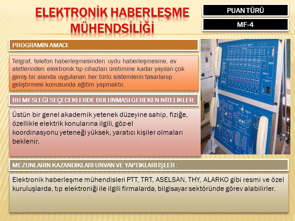 PUAN TÜRÜ MF-4 PROGRAMIN AMACI: Telgraf, telefon haberleşmesinden uydu haberleşmesine, ev aletlerinden elektronik tıp cihazları üretimine kadar yayıla
