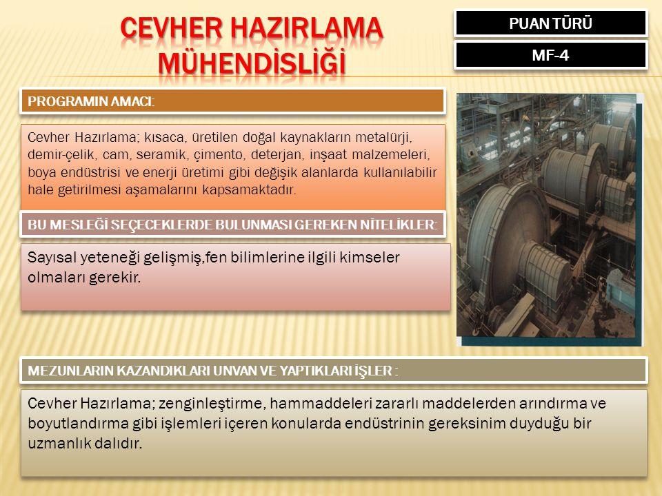 PUAN TÜRÜ MF-4 PROGRAMIN AMACI: Cevher Hazırlama; kısaca, üretilen doğal kaynakların metalürji, demir-çelik, cam, seramik, çimento, deterjan, inşaat m