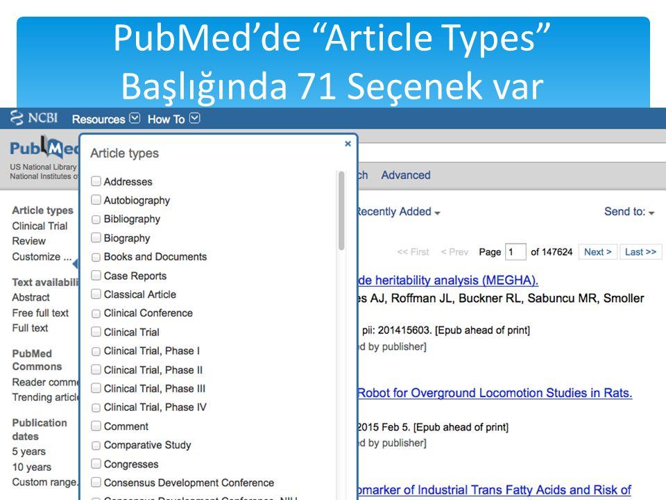 """PubMed'de """"Article Types"""" Başlığında 71 Seçenek var / 252"""