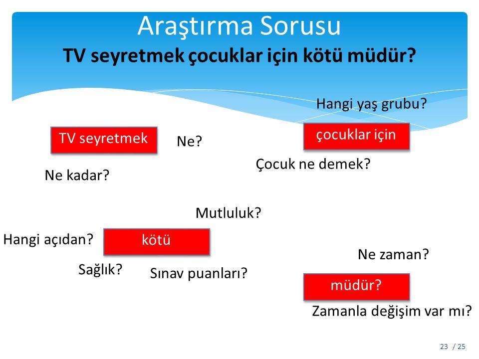Araştırma Sorusu TV seyretmek çocuklar için kötü müdür? / 2523 TV seyretmek Ne kadar? Ne? çocuklar için kötü müdür? Çocuk ne demek? Hangi yaş grubu? H