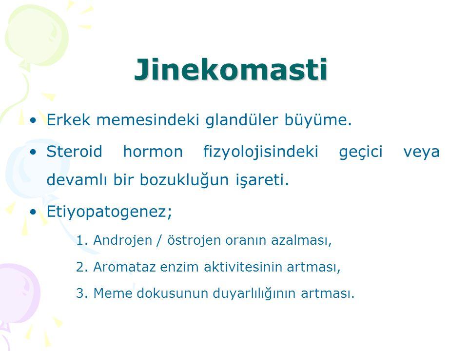 Jinekomasti Erkek memesindeki glandüler büyüme. Steroid hormon fizyolojisindeki geçici veya devamlı bir bozukluğun işareti. Etiyopatogenez; 1. Androje