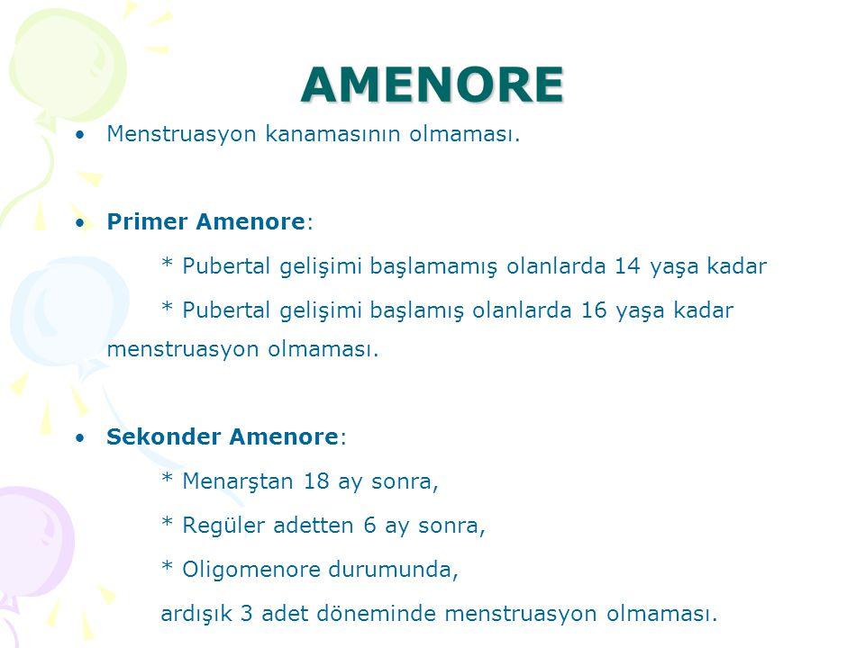 AMENORE Menstruasyon kanamasının olmaması. Primer Amenore: * Pubertal gelişimi başlamamış olanlarda 14 yaşa kadar * Pubertal gelişimi başlamış olanlar