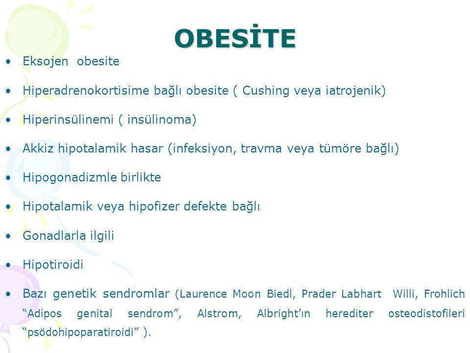 OBESİTE Eksojen obesite Hiperadrenokortisime bağlı obesite ( Cushing veya iatrojenik) Hiperinsülinemi ( insülinoma) Akkiz hipotalamik hasar (infeksiyo