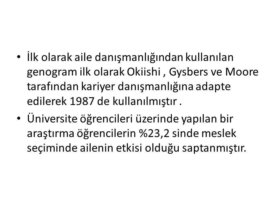 İlk olarak aile danışmanlığından kullanılan genogram ilk olarak Okiishi, Gysbers ve Moore tarafından kariyer danışmanlığına adapte edilerek 1987 de kullanılmıştır.