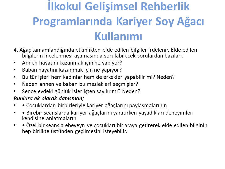 İlkokul Gelişimsel Rehberlik Programlarında Kariyer Soy Ağacı Kullanımı 4.