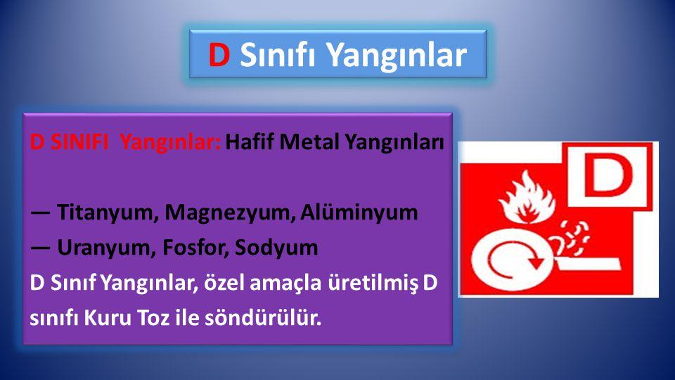 D Sınıfı Yangınlar D SINIFI Yangınlar: Hafif Metal Yangınları — Titanyum, Magnezyum, Alüminyum — Uranyum, Fosfor, Sodyum D Sınıf Yangınlar, özel amaçl