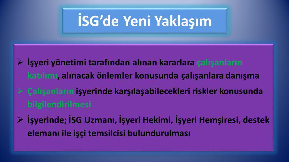 İSG'de Yeni Yaklaşım  İşyeri yönetimi tarafından alınan kararlara çalışanların katılımı, alınacak önlemler konusunda çalışanlara danışma  Çalışanlar