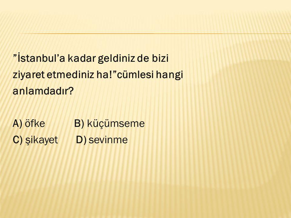 """""""İstanbul'a kadar geldiniz de bizi ziyaret etmediniz ha!""""cümlesi hangi anlamdadır? A) öfke B) küçümseme C) şikayet D) sevinme"""