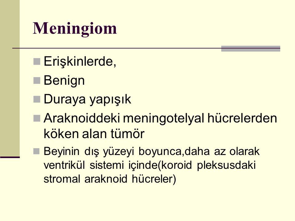 Meningiom Erişkinlerde, Benign Duraya yapışık Araknoiddeki meningotelyal hücrelerden köken alan tümör Beyinin dış yüzeyi boyunca,daha az olarak ventrikül sistemi içinde(koroid pleksusdaki stromal araknoid hücreler)