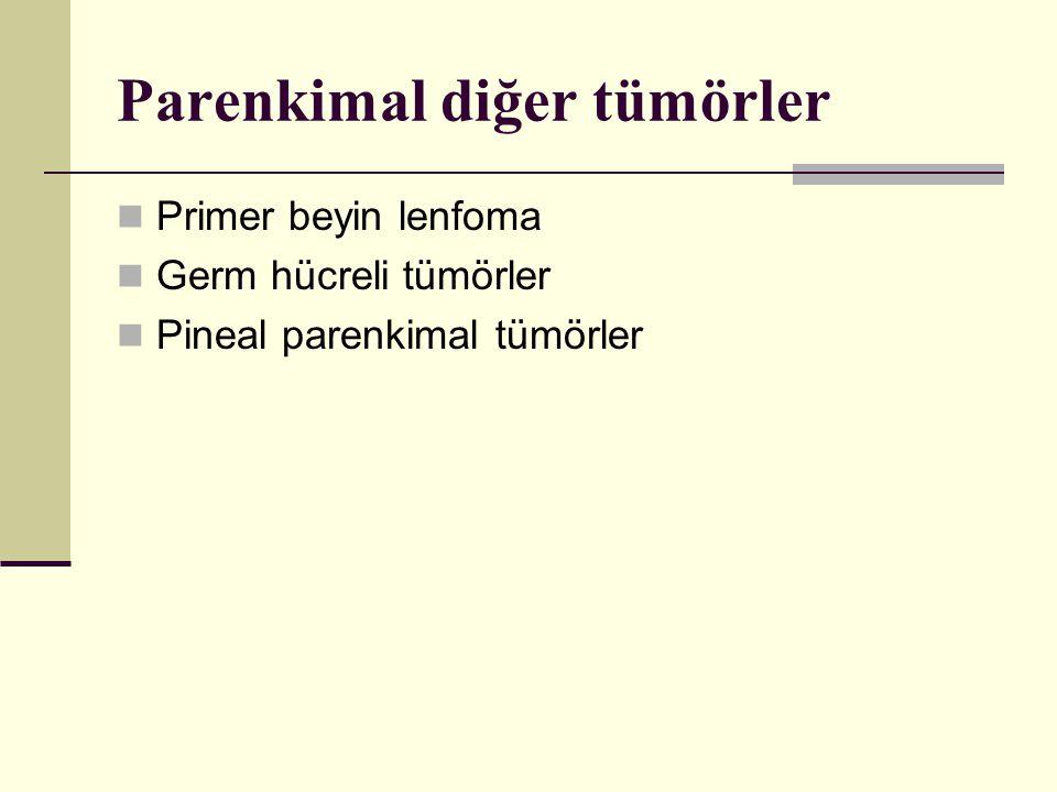 Parenkimal diğer tümörler Primer beyin lenfoma Germ hücreli tümörler Pineal parenkimal tümörler