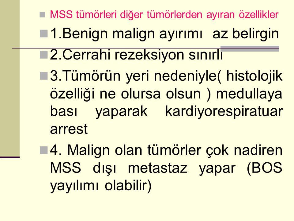 MSS tümörleri diğer tümörlerden ayıran özellikler 1.Benign malign ayırımı az belirgin 2.Cerrahi rezeksiyon sınırlı 3.Tümörün yeri nedeniyle( histolojik özelliği ne olursa olsun ) medullaya bası yaparak kardiyorespiratuar arrest 4.