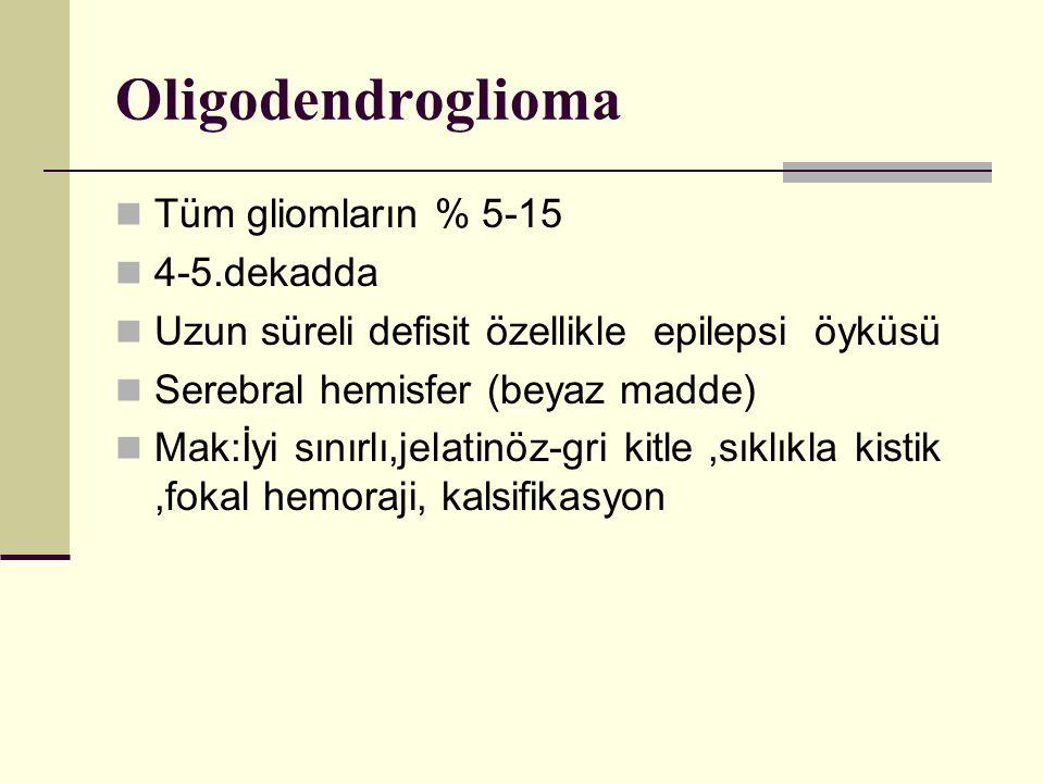 Oligodendroglioma Tüm gliomların % 5-15 4-5.dekadda Uzun süreli defisit özellikle epilepsi öyküsü Serebral hemisfer (beyaz madde) Mak:İyi sınırlı,jelatinöz-gri kitle,sıklıkla kistik,fokal hemoraji, kalsifikasyon