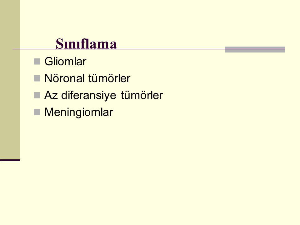 Gliomlar Nöronal tümörler Az diferansiye tümörler Meningiomlar Sınıflama