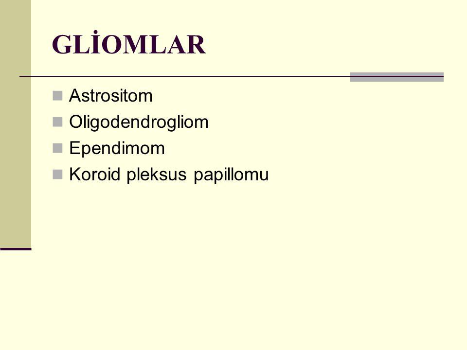 GLİOMLAR Astrositom Oligodendrogliom Ependimom Koroid pleksus papillomu
