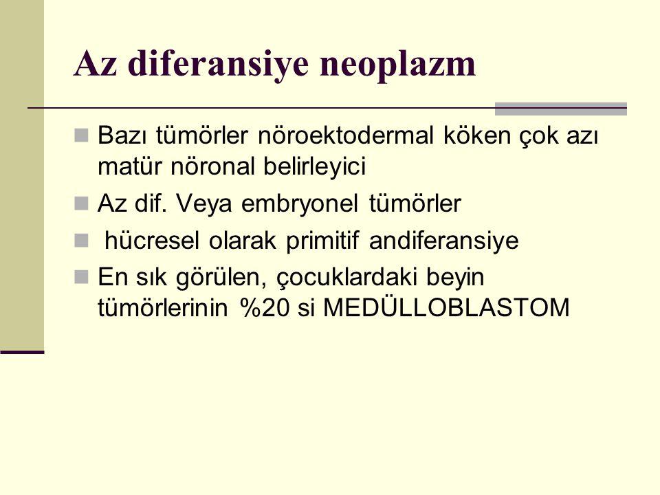 Az diferansiye neoplazm Bazı tümörler nöroektodermal köken çok azı matür nöronal belirleyici Az dif. Veya embryonel tümörler hücresel olarak primitif