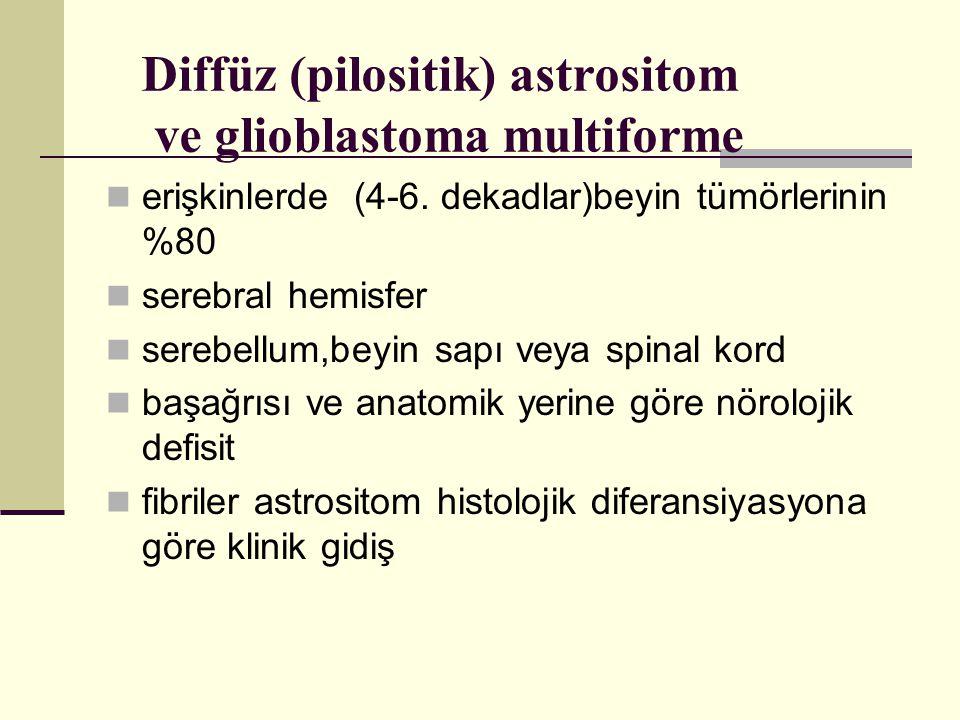 Diffüz (pilositik) astrositom ve glioblastoma multiforme erişkinlerde (4-6.