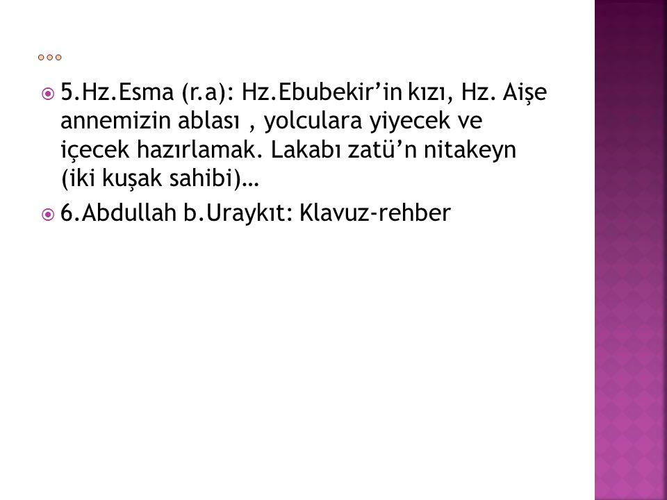  5.Hz.Esma (r.a): Hz.Ebubekir'in kızı, Hz.