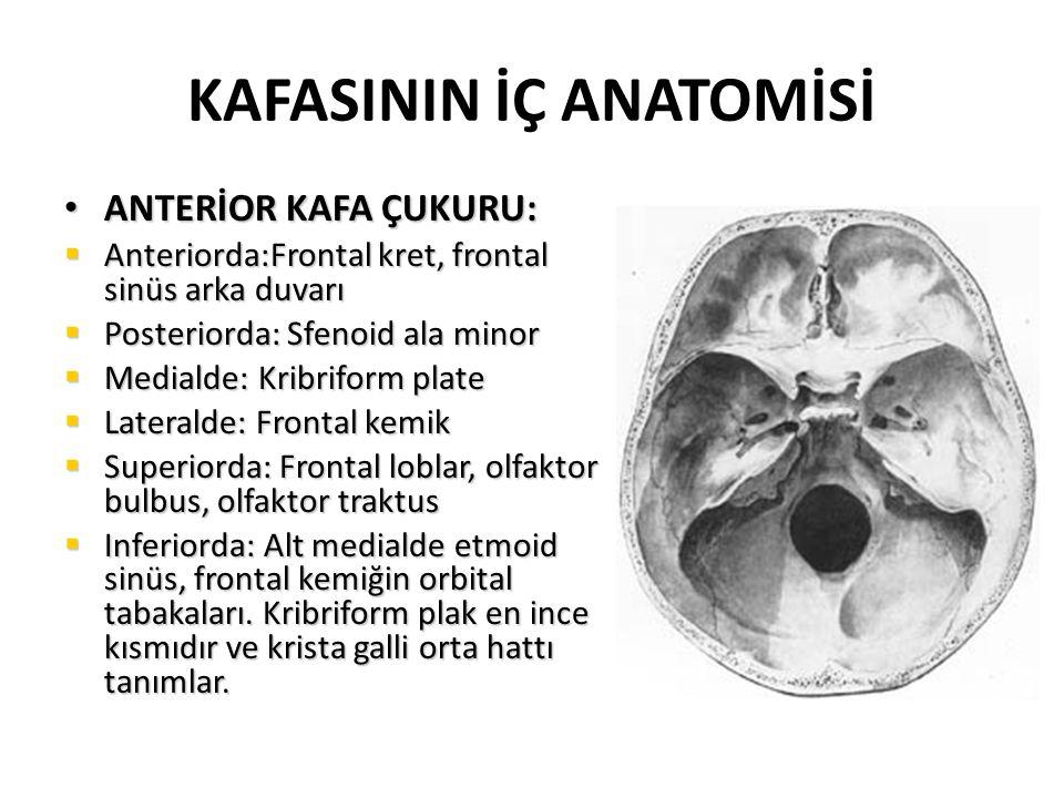 KAFASININ İÇ ANATOMİSİ ANTERİOR KAFA ÇUKURU: ANTERİOR KAFA ÇUKURU:  Anteriorda:Frontal kret, frontal sinüs arka duvarı  Posteriorda: Sfenoid ala minor  Medialde: Kribriform plate  Lateralde: Frontal kemik  Superiorda: Frontal loblar, olfaktor bulbus, olfaktor traktus  Inferiorda: Alt medialde etmoid sinüs, frontal kemiğin orbital tabakaları.